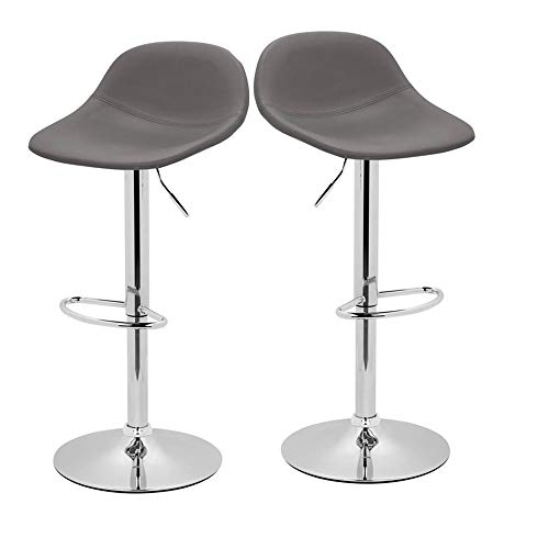 Adjustable Swivel Barstools with Back for Home Bar Kitchen Counter, New Modern Grey PU Leather...