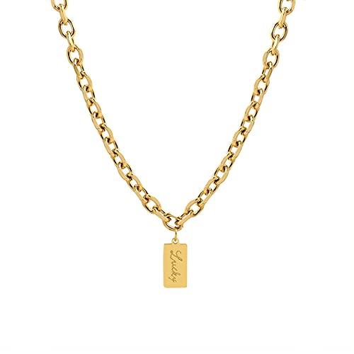 YQMJLF Collar Moda Accesorios Mujer Collares Personalidad Decoración de Moda Hip Hop Collar de Marca Cuadrada Joyería de Amor Collar de Navidad Regalo del día de Año Nuevo Mujer Joyas Regalo