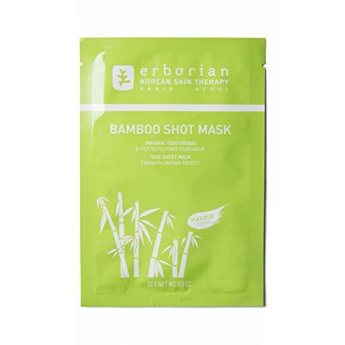 Erborian - Bamboo Shot Mask - Masque en Tissu Visage, Effet Repulpant Fraîcheur - Soin du Visage Coréen - 15g