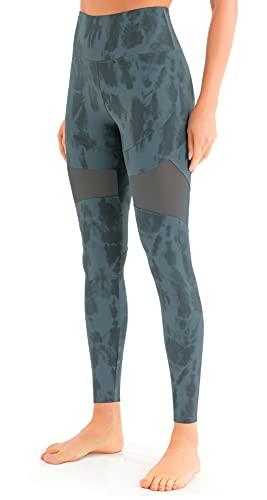 JOYSPELS Leggings de malla, opacos, con bolsillos para deporte y uso diario. Aqua Blue Ink Block 38