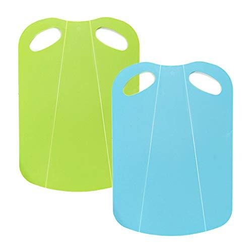 Tabla de Cortar Cocina Plástico Tabla de Cortar Plegable Multifuncional Fáciles de Agarrar Adecuado tabla de cortar flexible para Cocina, Picnic, Frutas y Verduras (verde azul)