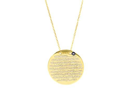 Remi Bijou 925 Sterling Silber Halskette mit Gravurplatte Ayetel Kursi Gebet für Muslimen Allah Islam, Nazar Boncuk Türkisches Auge (Gold)