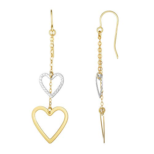 10K Yellow & White Gold Diamond Cut Open Heart Double Strand Drop Earrings with Euro Wire