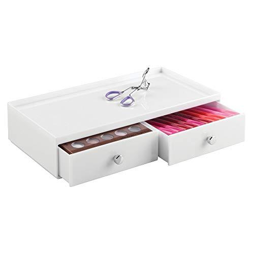 InterDesign Drawers organisateur de maquillage, boîte de rangement en plastique pour make-up & Cie., boîte à tiroir avec 2 tiroirs larges, blanc