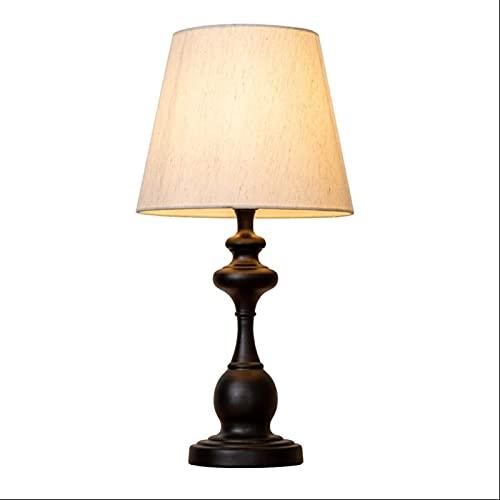 FHKBK Lámpara de Mesa de Noche, lámpara de Mesa Huntington de 19', Arte de Hierro del Norte de Europa Lámpara de Escritorio Pantalla de Tela Lámpara de Noche de Dormitorio Lámpara de es