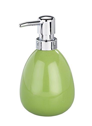 WENKO Seifenspender Polaris, nachfüllbarer Seifendosierer für Flüssigseife und Lotion aus hochwertiger Keramik, 10 x 16,5 x 9,4 cm, Füllmenge 390 ml, Grün