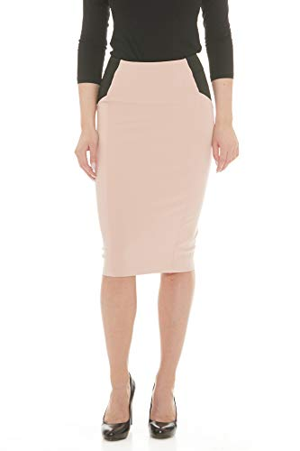 ESTEEZ Womens Office Pencil Skirt - Below Knee Length - Charlotte Pink X-Large
