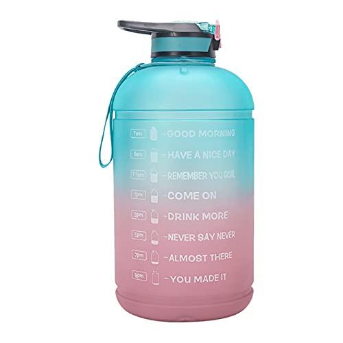 LUBINGT Taza de Agua para Deportes al Aire Libre Botella de Agua Deportiva con Marcador de Tiempo Libre motivación Fitness Gimnasio Taza de transmisión (Capacity : 3.78l, Color : Green and Purple)