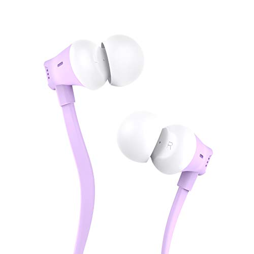 Earbuds, Vogek Tangle-Free Flat Cord Ergonomic in-Ear Headphones with Dynamic Crystal Clear Sound, Earphones with S/M/L Eartips Compatible with Samsung, Android Phone and More-Purple