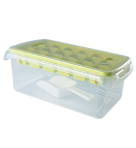 Ice Cube Tray Lid and Bin - Easy Release Ice Molds for Freezer, Refrigerator with Container, Holder, Bucket Scoop and Cover, Stackable and Dishwasher Safe, 18 Cubes for Cocktail