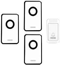 Self-Powered Wireless Doorbell, 120M Remote Doorbell Kit 1 Button and 3 Plug-in Receivers IP44 Waterproof Electric Doorbell