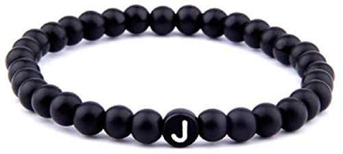 Sadingo Beziehungs Geschenk (Buchstabe J, 17cm) Initialen Armband Perlen, Personalisierte Fußkette Herren Damen
