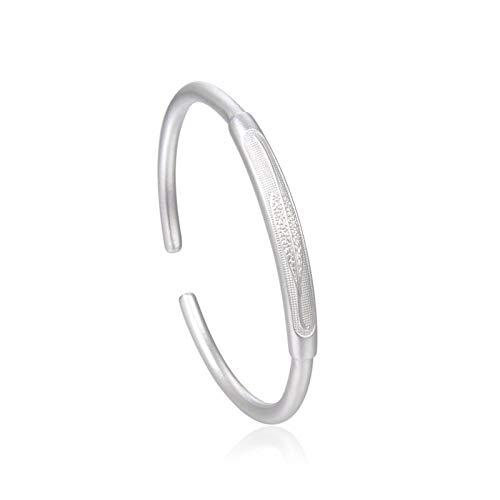 1 unid brazaletes para mujer S999 plata pura abierta esmerilada pulsera grabado patrón hoja