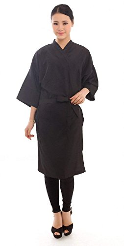 Salon Client Gown Hairdressing Gowns Kimono Style- 43 Long (Black) by Salon robes