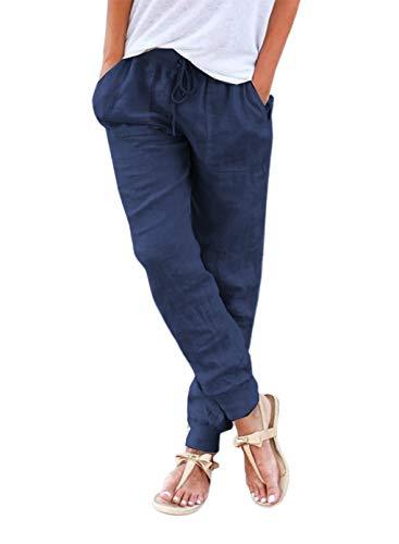 Pantalones cargo para mujer, de lino y algodón, con cordón, cintura elástica, sueltos, con bolsillos, informal, suaves, mediados, con cordón, cómodos, pantalones