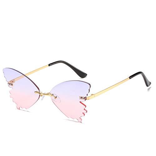 Vibner Gafas de Sol Nuevas Gafas De Sol con Forma De Mariposa A La Moda para Hombres Y Mujeres, Gafas De Sol Divertidas para Pasarela, Gafas Sin Marco De Metal 6