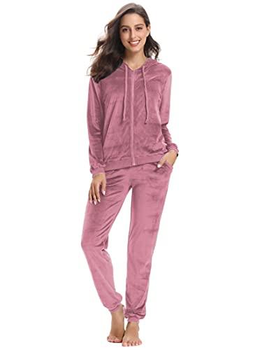 NC Damen Trainingsanzug Hausanzug Velours Kapuzenpullover und Hose Jogginganzug Sportbekleidung mit Reißverschluss Kordelzug Taschen Rosa 1 XS