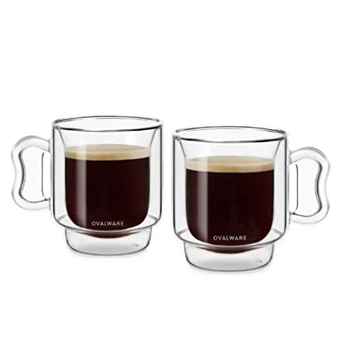 OVALWARE RJ3 Espresso Coffee Glass Cups 4oz/120ml (Set of 2) Double Walled Glass Cup w/ Solid Butterfly Handle- Elegant Borosilicate Espresso Shot Mug - Stackable Insulated Transparent Demitasse Glass
