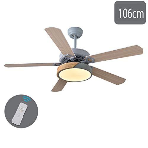 GXT Ventilador de techo de 106 cm/120 cm para sala de estar comedor ventilador de techo de velocidad ajustable dormitorio ventilador de techo luz regulable gris suave (color: B-106 cm)