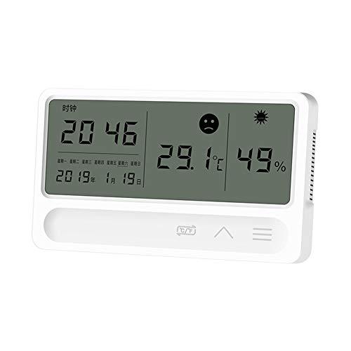 SANGSHI Reloj de escritorio electrónico LCD para interior con medidor de temperatura y humedad, reloj despertador higrómetro termómetro higrómetro digital de alta precisión