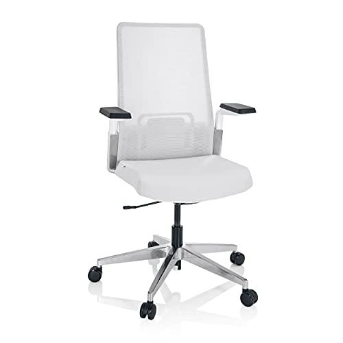 hjh OFFICE 790018 Paterna W - Silla de oficina (tejido y malla, ergonómica, giratoria, soporte lumbar ajustable), color gris claro