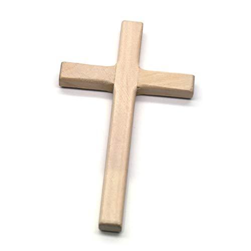 FUNCOCO Cruces de Madera, 2 Cruces de Madera Hechas a Mano, crucifijo de Jesucristo, Adornos, fabricación de Colgantes con dijes religiosos, Color Madera