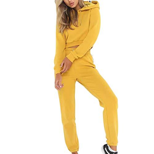 MOVERV Chándales Deportivos de Mujer,Mujeres 2 Piezas Conjunto Color Sólido Sudaderas con Capucha Superior y Pantalones Sudadera Casual Dos Piezas Otoño Streetwear Chándal Diario