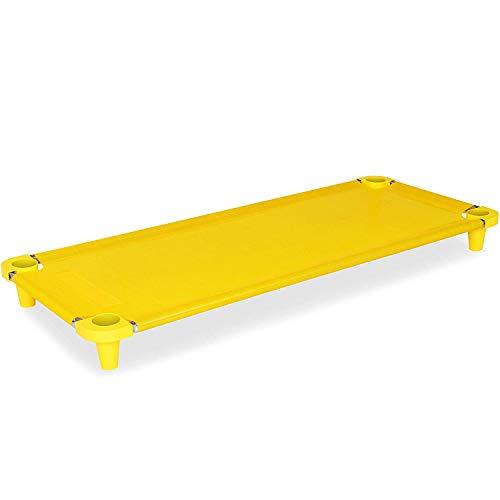 Acrimet Premium Cuna para Siesta Apilable (tubos de acero inoxidable) (Color Amarillo / Pies Naranja) (1 Unidad)