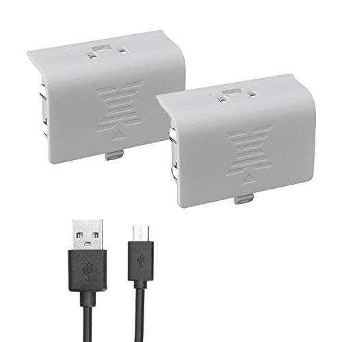 Xbox one Battery Pack White 800mAH (2-Pack) Rechargeable NI-MH for Xbox One S/Xbox One X/Xbox One Elite Wire Charging Cable LED Indicator