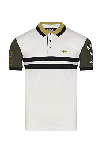 Aeronautica Militare Polo PO1537P 36° Stormo Piquet Homme Chemise T-shirt - Blanc - XL