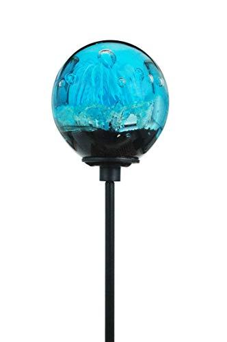 Traum-Gartenkugel (7) türkisfarbene Blume nachtleuchtend - Rosenkugel Glaskugel auf 1 Meter Stab Gartenstecker