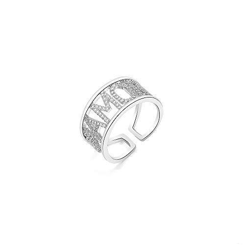 Anello Promessa per donna, misura regolabile in oro rosa e argento placcato con brillanti zirconi in cristallo eternità fedi nuziali, anelli di fidanzamento gioielli regalo per amica