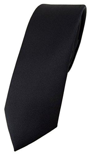 TigerTie schmale Designer Krawatte in schwarz einfarbig Uni - Tie Schlips