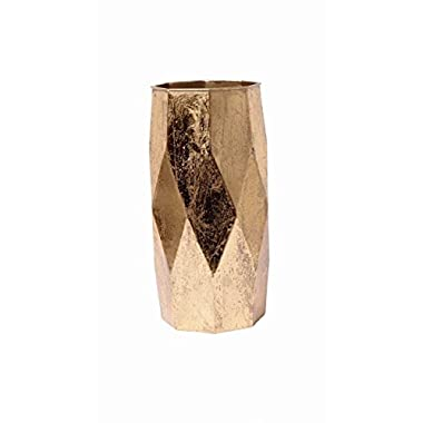 Hosley Gold Leaf Colored Finish Geometric Metal Vase, 12.75  High. Great Urn for Dried Floral Arrangements, Craft Projects, Ideal Gift for Wedding, Special Occasion, Home, Office P2