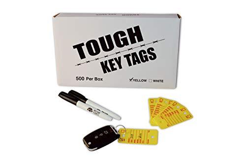 Poly Key Tag, Car Key Tag, 500 per Box, with Rings and Pens Tough (Survivor) (Yellow)