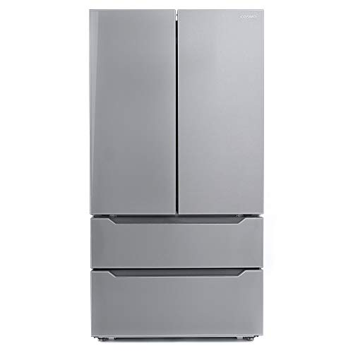 Cosmo COS-FDR225RHSS 36 in. Double French Door Refrigerator | Energy Efficient Fridge with 2 Drawer Bottom Freezer & Built-In Automatic Ice Maker Chest, 22.5 cu. ft. Storage Capacity - Stainless Steel