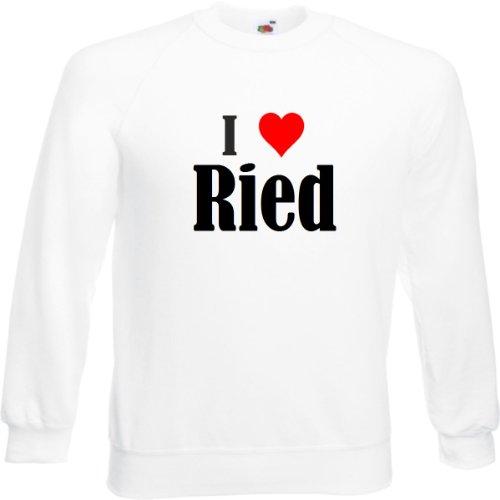 Reifen-Markt Sweatshirt I Love Ried Größe 2XL Farbe Weiss Druck Schwarz