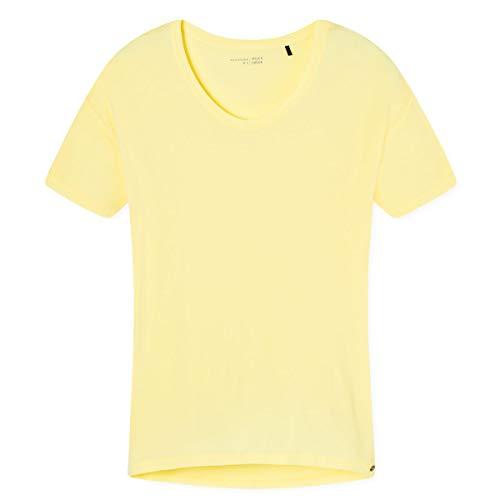 Schiesser Damen Mix & Relax Shirt 1/2 Arm Schlafanzugoberteil, Gelb (gelb 600), 42