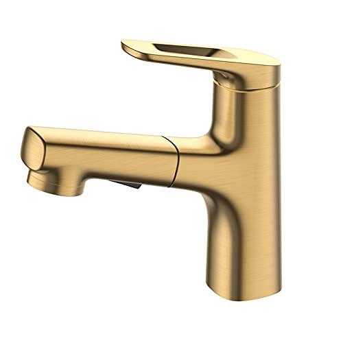 HNBMC Grifo de Cuenca, extracción y retráctil de Tres Funciones Fregaderos de baño, Grifo, manija de una Sola Palanca Grifo de Cocina,Oro