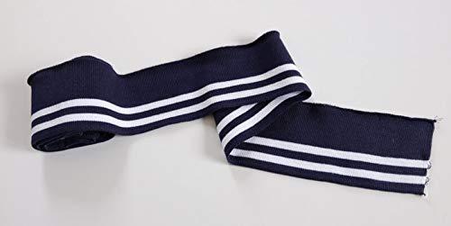 Zierstoff einfach nähen Strickbündchen, Collegebündchen in Marine mit weißen Streifen 135 cm, Blau