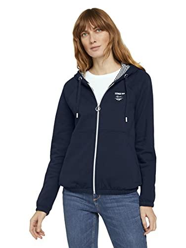 TOM TAILOR Damen Strick & Sweatshirts Sweatjacke mit Kapuze Sky Captain Blue,M,10668,6000