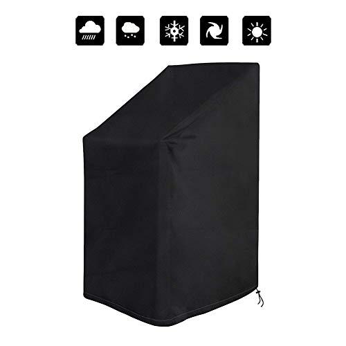 Fablcrew Housse Chaise de Jardin Imperméable Housse Protection pour Chaises Empilables Extérieur Anti-UV Anti-poussière Housse Fauteuil Jardin Respirant Tissu Oxford 420D Noir 120 * 65 * 65 * 80CM