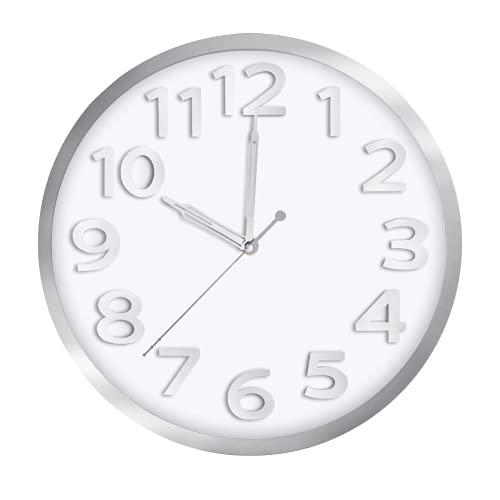 Jeteven Orologio da Parete Moderno 12 Pollici in Senza Tocchi Quarzo Silenzioso per la Decorazione della Camera da Letto (Argento)