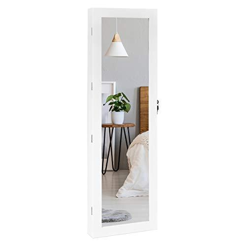 COSTWAY Armario de Joyas con LED, Espejo,Cajones,Cerradura y Estante para Joyería Organizador Montar en Puerta y Pared Blanco