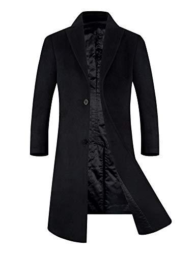 メンズ コート チェスターコート ウール 中綿入り 暖かい ロング 通勤 オシャレ ビジネスコート ブラック L(日本XXLに相当)