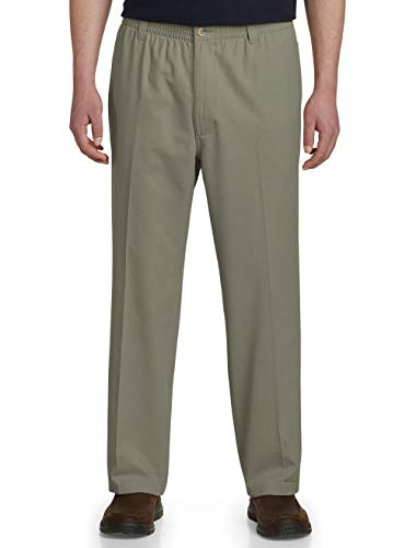 Harbor Bay by DXL Big and Tall Elastic-Waist Pants, Olive, 1XR 32