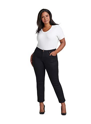 Zizzi Emily Jeans Damen Große Größen Slim Fit Curvy Hip Stretch Jeanshose -Schwarz-48 / 78 cm