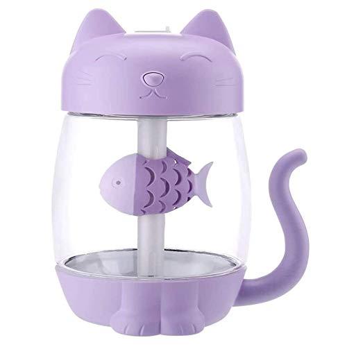 BaiHogi 350 ml Humidificador de Aire de Gato con Color LED Luz Ultrasonic 3 en 1 Adorable Cat Eat Fish Humidificador USB Aroma Difusor Fogger (Color : Purple)
