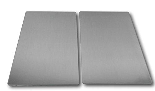 Urban Design 2 x Glas Herdabdeckplatte Herdabdeckung Schneidebrett Abdeckplatte Ceranfeld Silber Metall Edelstahl Optik
