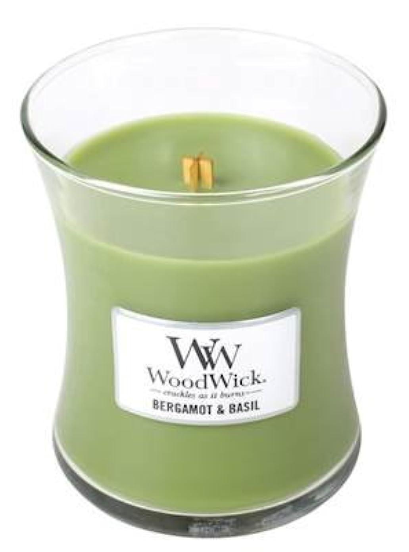 農業器用口ベルガモットBasil?–?Woodwick 10oz Medium Jar Candle Burns 100時間
